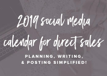 2019 Social Media Calendar for Direct Sales
